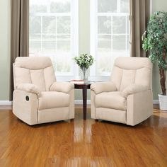 Create the perfect conversation area for two with these comfortable wall hugger recliners from the ProLounger Collection. They feature a classic design with stain-resistant upholstery in a khaki hue that will blend with many decor schemes.
