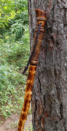 Burnt Maple Walking stick Rustic wood hiking staff with