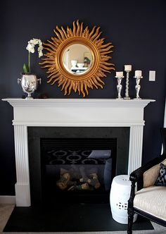 Mantle  Stunning but too dark for my taste.  Now flip it around and have white walls with black fireplace????