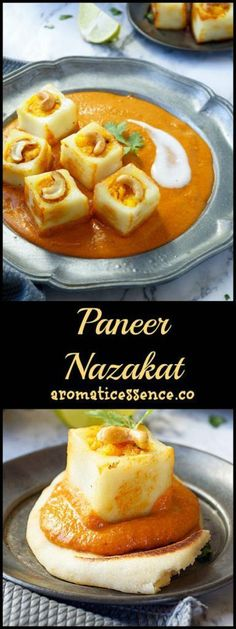 Cubes of paneer are stuffed with a mildly spiced dried fruit mixture. These pan-fried paneer cubes are served over a bed of a thick, creamy and tantalizing gravy! Paneer Dishes, Veg Dishes, Food Dishes, Veg Recipes, Vegetarian Recipes, Cooking Recipes, Cooking Courses, Cooking Food, Cake Recipes