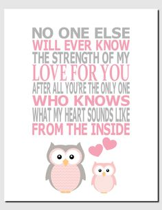 The Strength of My Love For You - Kids Wall Art Nursery Art Baby Girl Room Decor Owls by vtdesigns