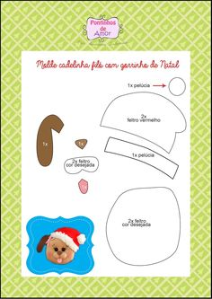 Risultati immagini per molde natal em feltro Christmas Makes, Christmas Art, Christmas Projects, Holiday Crafts, Xmas, Dog Crafts, Diy And Crafts, Dog Template, Templates