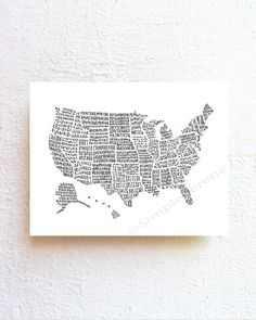 US map art United States map illustration poster by SimpleSerene