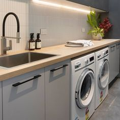 Laminate Benchtop, Washing Machine, Kitchen Design, Laundry, Home Appliances, Cleaning, Freedom, Kitchens, House