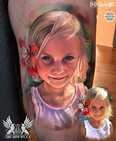 Colour Realism Little girl Portrait Tattoo by Claire Griffin I Tattoo, Cool Tattoos, Amazing Tattoos, Skin Candy, Little Girls, Princess Zelda, Ink, Color, Claire