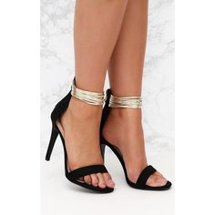 52bae4f832dc Black Metallic Cuff Detail Sandal ( 40) via Polyvore featuring shoes