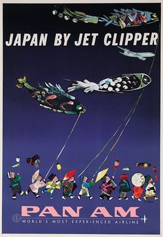 Vintage Airline Poster - Pan-Am Airlines, Japan. Fly the Clipper to Japan, for Pan-Am. Extremely rare, verified original, and famous travel poster promoting Japan in fine condition. Airline Travel, Air Travel, Travel Ads, Pan Am, Vintage Travel Posters, Vintage Airline, Art Graphique, Cool Posters, Art Posters