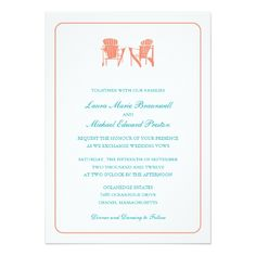 Spring Wedding Save the Date Cards Two Adirondack Chairs Wedding Card