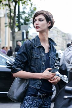Denim jacket, patterned pants. Chic Simplicity Celebrities at Couture Street Style - Paris Couture Fashion Week Street Style - Elle