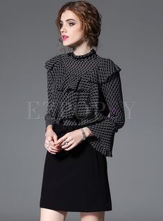 Shop Black Print Falbala Flare Sleeve Blouse at EZPOPSY. Red Frock, Fashion Online, Women's Fashion, Vintage Closet, Beautiful Blouses, Black Blouse, Black Print, Beaded Embroidery, Frocks