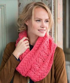 Covet This Lacy Cowl Free Knitting Pattern in Red Heart Yarns