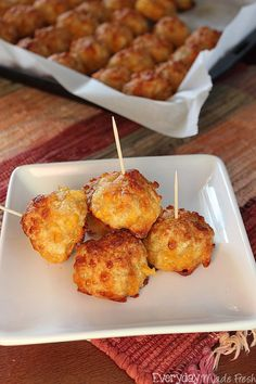 """Move over sausage balls, we have a new favorite in town, and it's Spicy Chicken Cheeseballs! 