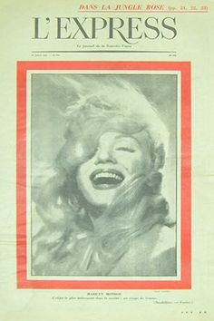 1958: L'Express (French) magazine cover of Marilyn Monroe .... #normajeane #vintagemagazine #pinup #iconic #raremagazine #magazinecover #hollywoodactress #monroe #marilyn #1950s
