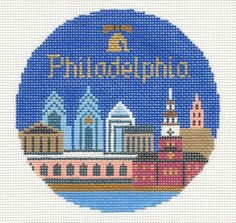 "Silver Needle PHILADELPHIA, PA  handpainted 4.25"" Rd Needlepoint Canvas Ornament"