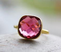 Gold Red Ruby Quartz Gemstone Ring - Stackable Ring - Cushion Cut. $65.00, via Etsy.