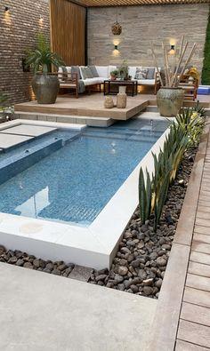 Backyard Pool Landscaping, Backyard Pool Designs, Small Backyard Pools, Backyard Garden Design, Swimming Pools Backyard, Swimming Pool Designs, Outdoor Pool, Small Pool Design, Design Exterior