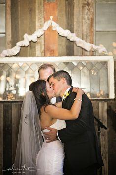 First kiss at Herban Feast Sodo Park wedding