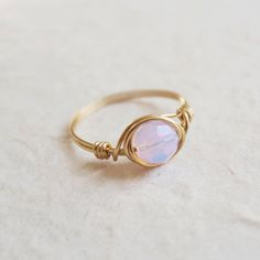 Pink Opal ring - unique ring - cute ring - wire wrapped ring
