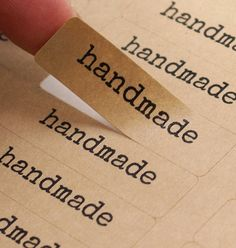 80 Typewriter Font HANDMADE Rectangle Brown Kraft Sticker Labels Seals 1/2 x 1 3/4 inch - Free Shipping