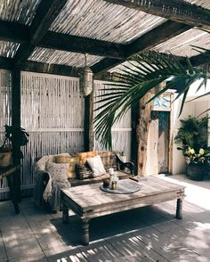 Outdoor seating patio boho decor