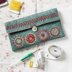 Buy Corinne Lapierre Felt Sewing Pouch Craft Kit from our Craft, Crochet & Sewing Kits range at John Lewis & Partners. Free Delivery on orders over Felt Embroidery, Embroidery Needles, Embroidery Patterns, Felt Patterns, Bag Patterns, Needle Case, Needle Book, Needle Felting, Sewing Kit