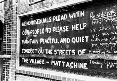 Hand-painted text on a boarded-up window of the Stonewall Inn after riots over the weekend of June The text reads 'We homosexuals plead with our people to please help maintain peaceful and. Stonewall Inn, Stonewall Riots, Gay Rights Movement, Riot Police, Gay Art, The Villain, Weekend Is Over, Lesbian