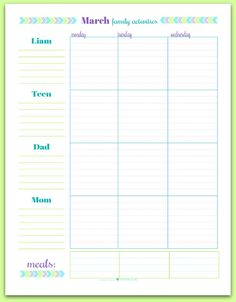 June's Printable of the Month: Free Personalized Family Schedule/Planner | ScatteredSquirrel.com