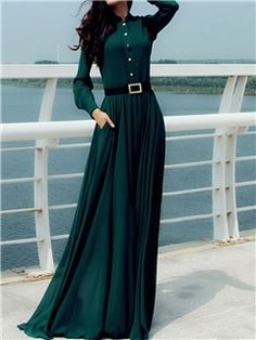 Ericdress Green Stand Collar Plain Maxi Dress
