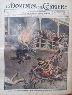 Ciclismo incidente Velodromo di Berlino,Guspini,Domenica del Corriere n.30,1909…