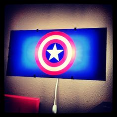 Captain America, Avengers, night light, Batman, wall decal, boys room decor, superhero decal, wall art, by Otrengraving on Etsy on Wanelo