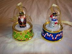 2 Mr Christmas Music Box Domed Bell Nutcracker Snowman Holiday Decoration | eBay