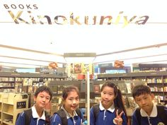We were at Kinokuniya Book Store. All of us didn't bought anything, so we could took a picture :)