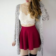 17 Ideas For How To Wear Red Skirt girly outfits girly outfits ideas girly outfits for wome. Teen Fashion Outfits, Girly Outfits, Cute Casual Outfits, Cute Fashion, Outfits For Teens, Stylish Outfits, Girl Fashion, Tumblr Outfits, Mode Outfits