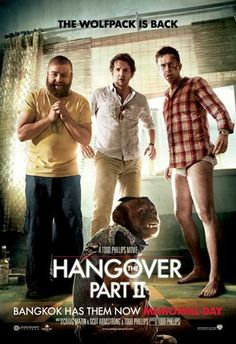 THE HANGOVER PART II (2011): Two years after the bachelor party in Las Vegas, Phil, Stu, Alan, and Doug jet to Thailand for Stu's wedding. Stu's plan for a subdued pre-wedding brunch, however, goes seriously awry.
