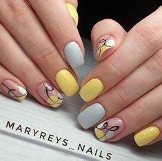 Yellow Nails Design, Yellow Nail Art, Cute Nail Art Designs, Short Nail Designs, Nail Polish Designs, Cute Acrylic Nails, Cute Nails, Easy Nails, Glitter Nails