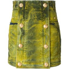 Pre-owned Balmain Denim Mini Skirt ($762) ❤ liked on Polyvore featuring skirts, mini skirts, yellow, high-waist skirt, high waisted mini skirt, yellow skirt, green high waisted skirt and short skirts