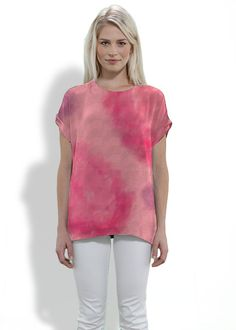 DEEP SHERBET Silk Tee  #clothing #fashion #silk #tops, #pink