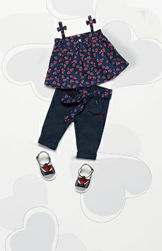 Guccis Spring 14 Kids Collection Heartbeat Print Top -$175 Navy Blue Pants w/Heartbeat Print Belt - $195 Patent Leather Sandal w/Heart Detail - $195