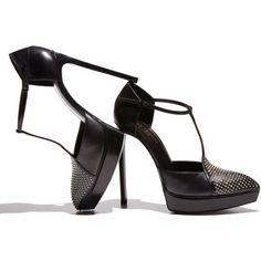 Women's Saint Laurent Janis Studded Platform d'Orsay, Black ($1,095) ❤ liked on Polyvore