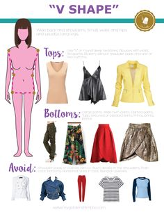 V shape body what to wear. What is my body shape learn how to find out what is what looks better according to you type of body. Inverted Triangle Outfits, Inverted Triangle Body, Triangle Body Shape, V Shape Body, Dress For Body Shape, Body Shapes, Shape Wear, Fashion Mode, Look Fashion