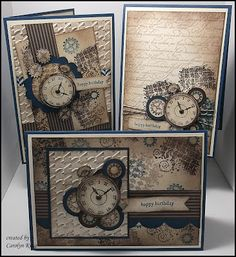 King's on Paddington: Clockworks Trio. Carol King has done an amazing job with the three cards she created using the Clockworks stamp set from Stampin' Up! Tarjetas Stampin Up, Stampin Up Karten, Stampin Up Cards, Masculine Birthday Cards, Birthday Cards For Men, Masculine Cards, 20 Birthday, 70th Birthday Card, Steampunk Cards