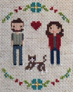 FFO Friday #7: My Little Family cross stitch for my anniversary sleepykittystitches.wordpress.com