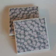 Baseball Ceramic Tile Coaster Set by PickadillyGarden on Etsy