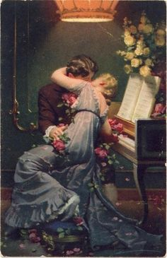 vintage; couples; lovers; roses; flowers; piano; kissing; kisses; romance novel; romantic; paintings; painting; photography; the art of romance; the look of love