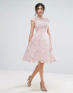 a3595421d97 Chi Chi London premium lace midi prom dress with bardot neck in mink