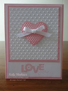 Indiana Inker: Love You Card    Cardstock - Pretty in Pink, Whisper White Ink - Pretty in Pink Stamp Set - Seasonal Sayings Embosslit - Scalloped Heart Folder - Perfect Polka Dots