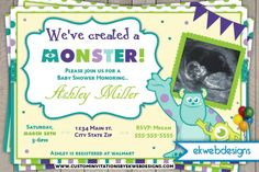 Monster University Baby Shower Invitations Inc