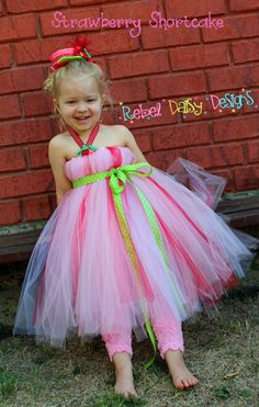 Boutique Halloween or Party Tutu Dress Costume Strawberry Shortcake Inspired With Felt Strawberry Clips and Mini Top Hat Accessory. $65.00, via Etsy.
