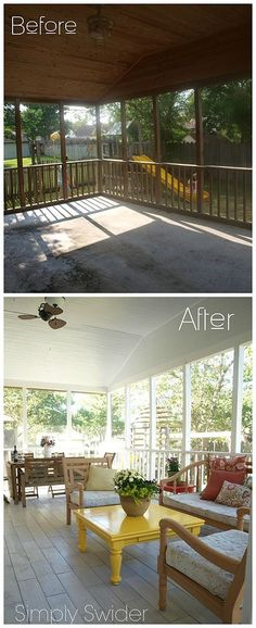 Home and Garden DIY Ideas, Photos and Answers Shielded Porch Makeover Outdoor Decor, Decks, Outdoor Living, Porches Back Porches, Decks And Porches, Enclosed Porches, Front Porch, Screened In Patio, Backyard Patio, Wood Patio, Patio Table, Teak Table