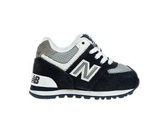 Rugby 574, Navy with Grey & White for infants $40